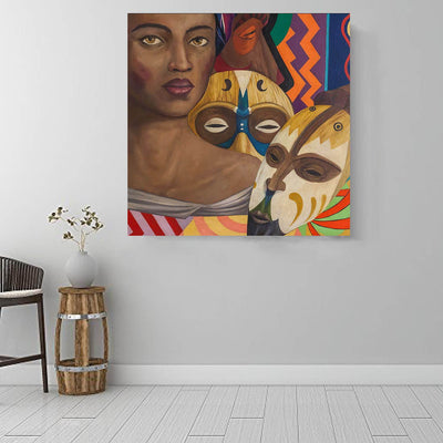 "BigProStore African American Canvas Art Pretty African American Woman Afrocentric Wall Art Afrocentric Decor BPS90766 16"" x 16"" x 0.75"" Square Canvas"