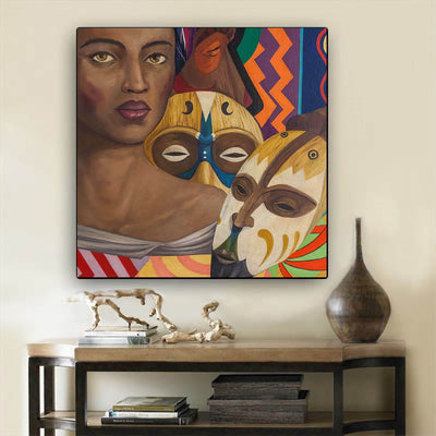 "BigProStore African American Canvas Art Pretty African American Woman Afrocentric Wall Art Afrocentric Decor BPS90766 24"" x 24"" x 0.75"" Square Canvas"