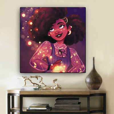"BigProStore African American Canvas Art Pretty Afro Girl African Canvas Afrocentric Wall Decor BPS73664 12"" x 12"" x 0.75"" Square Canvas"