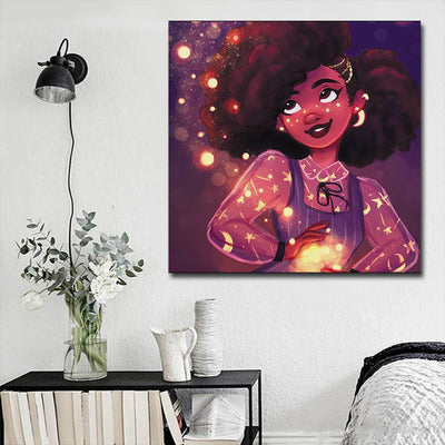 "BigProStore African American Canvas Art Pretty Afro Girl African Canvas Afrocentric Wall Decor BPS73664 16"" x 16"" x 0.75"" Square Canvas"