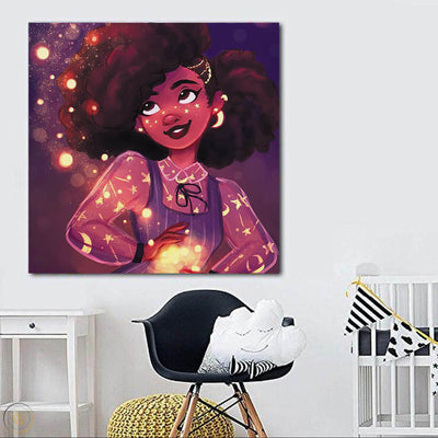 "BigProStore African American Canvas Art Pretty Afro Girl African Canvas Afrocentric Wall Decor BPS73664 24"" x 24"" x 0.75"" Square Canvas"