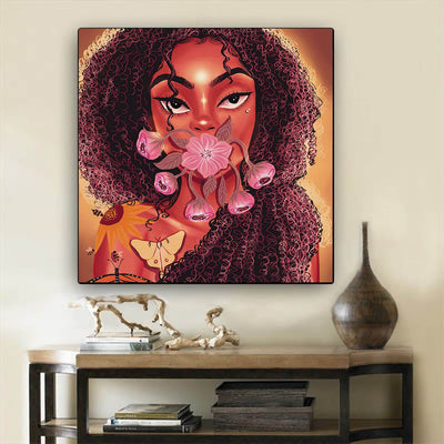 "BigProStore African American Canvas Art Pretty Afro Girl African Canvas Wall Art Afrocentric Decor BPS61730 12"" x 12"" x 0.75"" Square Canvas"
