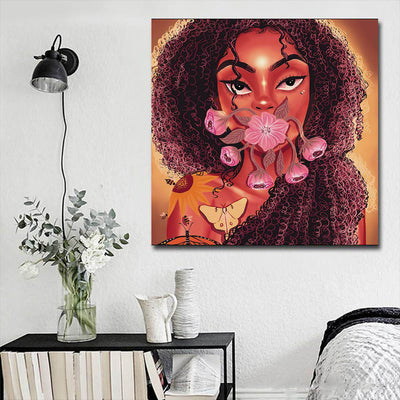 "BigProStore African American Canvas Art Pretty Afro Girl African Canvas Wall Art Afrocentric Decor BPS61730 16"" x 16"" x 0.75"" Square Canvas"