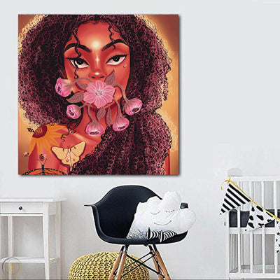 "BigProStore African American Canvas Art Pretty Afro Girl African Canvas Wall Art Afrocentric Decor BPS61730 24"" x 24"" x 0.75"" Square Canvas"