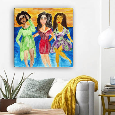 "BigProStore African American Canvas Art Pretty Afro Girl Framed African Wall Art Afrocentric Wall Decor BPS15857 12"" x 12"" x 0.75"" Square Canvas"