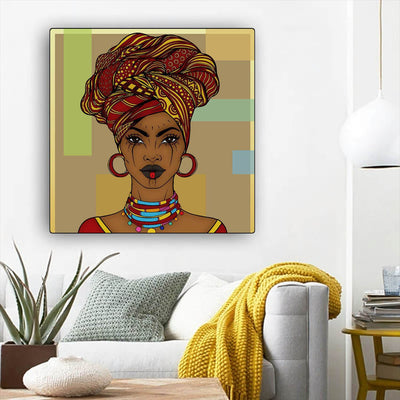 "BigProStore African American Canvas Art Pretty Black American Girl African American Prints Afrocentric Wall Decor BPS45156 12"" x 12"" x 0.75"" Square Canvas"