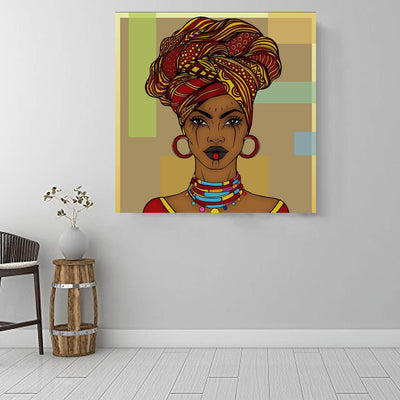 "BigProStore African American Canvas Art Pretty Black American Girl African American Prints Afrocentric Wall Decor BPS45156 16"" x 16"" x 0.75"" Square Canvas"