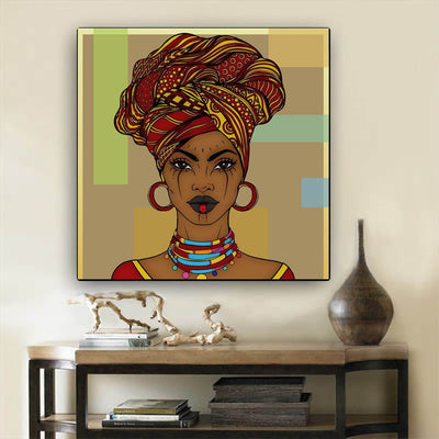 "BigProStore African American Canvas Art Pretty Black American Girl African American Prints Afrocentric Wall Decor BPS45156 24"" x 24"" x 0.75"" Square Canvas"
