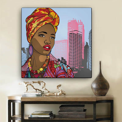 "BigProStore African American Canvas Art Pretty Black American Woman Afrocentric Wall Art Afrocentric Wall Decor BPS99074 12"" x 12"" x 0.75"" Square Canvas"