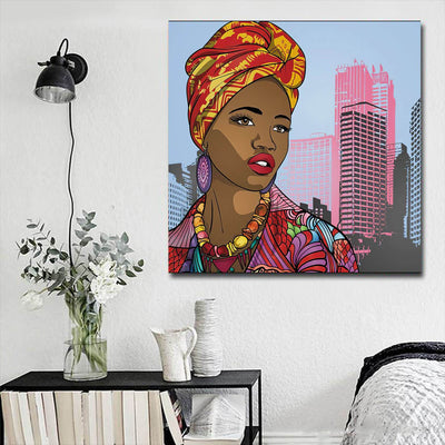 "BigProStore African American Canvas Art Pretty Black American Woman Afrocentric Wall Art Afrocentric Wall Decor BPS99074 16"" x 16"" x 0.75"" Square Canvas"