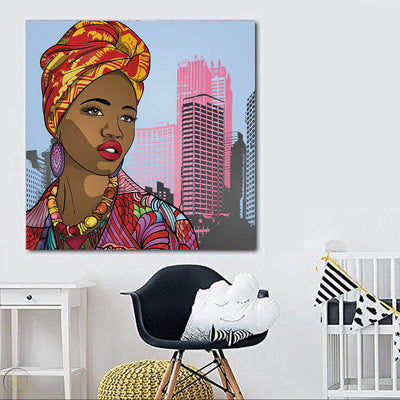 "BigProStore African American Canvas Art Pretty Black American Woman Afrocentric Wall Art Afrocentric Wall Decor BPS99074 24"" x 24"" x 0.75"" Square Canvas"
