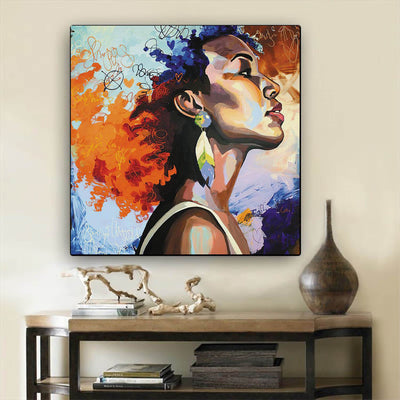 "BigProStore African American Canvas Art Pretty Black Girl African Canvas Afrocentric Living Room Ideas BPS12173 12"" x 12"" x 0.75"" Square Canvas"