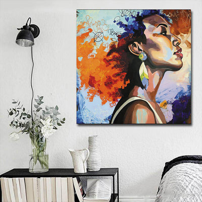 "BigProStore African American Canvas Art Pretty Black Girl African Canvas Afrocentric Living Room Ideas BPS12173 16"" x 16"" x 0.75"" Square Canvas"