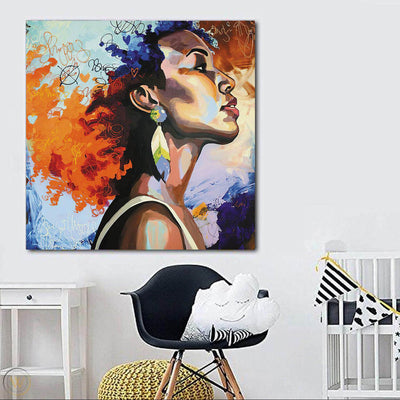 "BigProStore African American Canvas Art Pretty Black Girl African Canvas Afrocentric Living Room Ideas BPS12173 24"" x 24"" x 0.75"" Square Canvas"