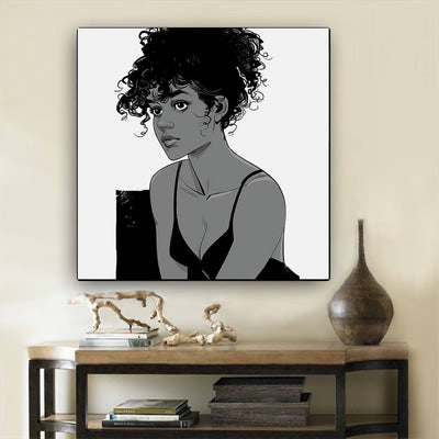 "BigProStore African American Canvas Art Pretty Black Girl Framed African Wall Art Afrocentric Home Decor BPS47661 12"" x 12"" x 0.75"" Square Canvas"