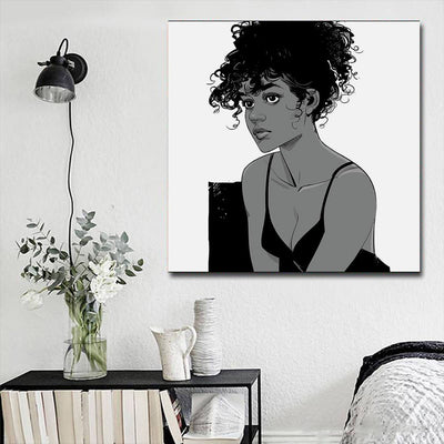 "BigProStore African American Canvas Art Pretty Black Girl Framed African Wall Art Afrocentric Home Decor BPS47661 16"" x 16"" x 0.75"" Square Canvas"