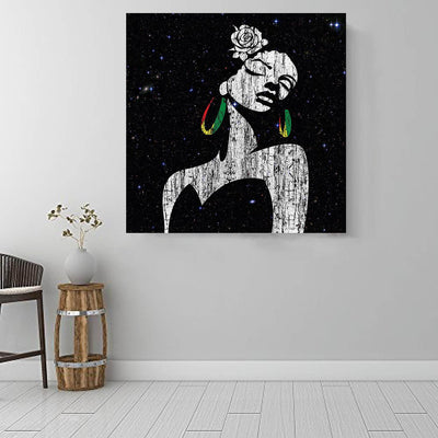 "BigProStore African American Canvas Art Pretty Girl With Afro Modern African American Art Afrocentric Decorating Ideas BPS66603 16"" x 16"" x 0.75"" Square Canvas"