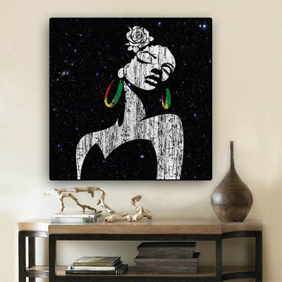 "BigProStore African American Canvas Art Pretty Girl With Afro Modern African American Art Afrocentric Decorating Ideas BPS66603 24"" x 24"" x 0.75"" Square Canvas"