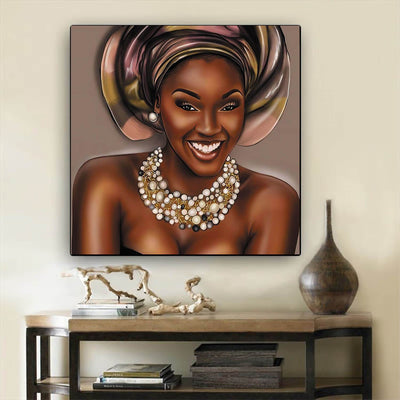 "BigProStore African American Canvas Art Pretty Girl With Afro Modern African American Art Afrocentric Living Room Ideas BPS86414 12"" x 12"" x 0.75"" Square Canvas"