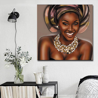 "BigProStore African American Canvas Art Pretty Girl With Afro Modern African American Art Afrocentric Living Room Ideas BPS86414 16"" x 16"" x 0.75"" Square Canvas"
