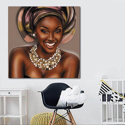 "BigProStore African American Canvas Art Pretty Girl With Afro Modern African American Art Afrocentric Living Room Ideas BPS86414 24"" x 24"" x 0.75"" Square Canvas"