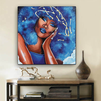 "BigProStore African American Canvas Art Pretty Melanin Poppin Girl African American Wall Art And Decor Afrocentric Home Decor Ideas BPS68231 12"" x 12"" x 0.75"" Square Canvas"