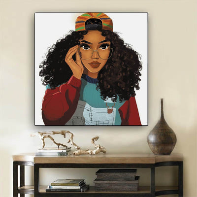 "BigProStore African American Canvas Art Pretty Melanin Poppin Girl African American Wall Art And Decor Afrocentric Living Room Ideas BPS58518 12"" x 12"" x 0.75"" Square Canvas"