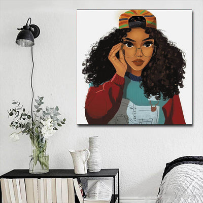 "BigProStore African American Canvas Art Pretty Melanin Poppin Girl African American Wall Art And Decor Afrocentric Living Room Ideas BPS58518 16"" x 16"" x 0.75"" Square Canvas"