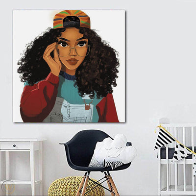 "BigProStore African American Canvas Art Pretty Melanin Poppin Girl African American Wall Art And Decor Afrocentric Living Room Ideas BPS58518 24"" x 24"" x 0.75"" Square Canvas"