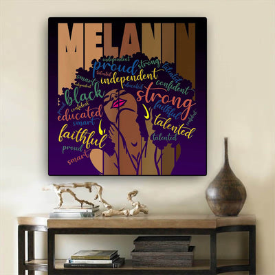 "BigProStore African American Framed Wall Art Melanin Powerful Words Afro Women Black Girl Gift Afrocentric Home Decor BPS7722 8"" x 8"" Square Canvas"