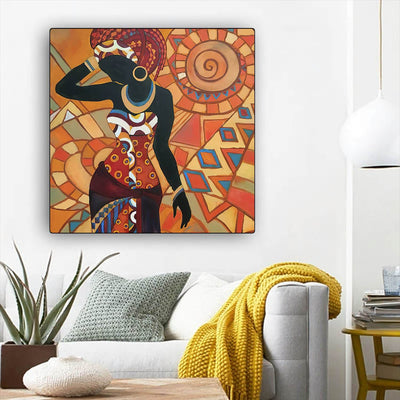 "BigProStore African American Wall Art Beautiful Afro American Girl African American Canvas Wall Art Afrocentric Decor BPS49405 12"" x 12"" x 0.75"" Square Canvas"