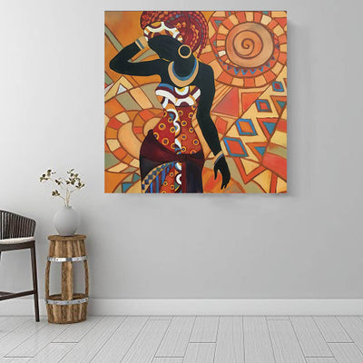 "BigProStore African American Wall Art Beautiful Afro American Girl African American Canvas Wall Art Afrocentric Decor BPS49405 16"" x 16"" x 0.75"" Square Canvas"