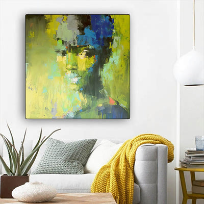 "BigProStore African American Wall Art Beautiful Afro American Girl Black History Canvas Art Afrocentric Living Room Ideas BPS92245 12"" x 12"" x 0.75"" Square Canvas"