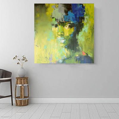 "BigProStore African American Wall Art Beautiful Afro American Girl Black History Canvas Art Afrocentric Living Room Ideas BPS92245 16"" x 16"" x 0.75"" Square Canvas"