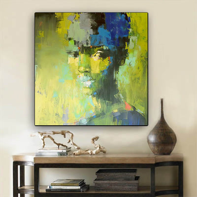 "BigProStore African American Wall Art Beautiful Afro American Girl Black History Canvas Art Afrocentric Living Room Ideas BPS92245 24"" x 24"" x 0.75"" Square Canvas"