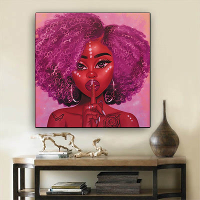 "BigProStore African American Wall Art Beautiful Afro Girl Black History Wall Art Afrocentric Decorating Ideas BPS98470 12"" x 12"" x 0.75"" Square Canvas"