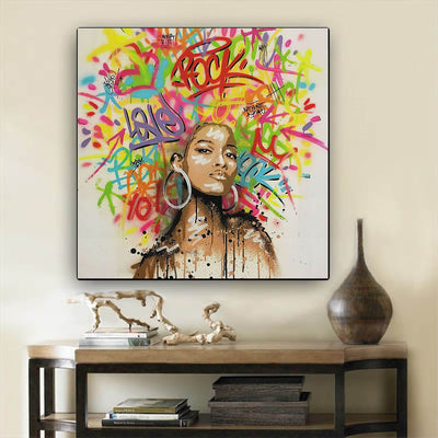 "BigProStore African American Wall Art Beautiful Black Afro Girls African American Artwork On Canvas Afrocentric Home Decor Ideas BPS65352 12"" x 12"" x 0.75"" Square Canvas"