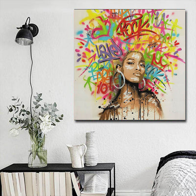 "BigProStore African American Wall Art Beautiful Black Afro Girls African American Artwork On Canvas Afrocentric Home Decor Ideas BPS65352 16"" x 16"" x 0.75"" Square Canvas"