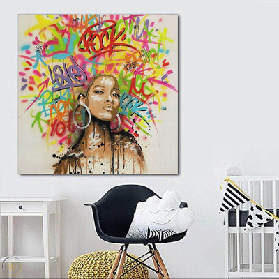"BigProStore African American Wall Art Beautiful Black Afro Girls African American Artwork On Canvas Afrocentric Home Decor Ideas BPS65352 24"" x 24"" x 0.75"" Square Canvas"