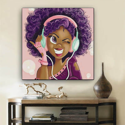 "BigProStore African American Wall Art Beautiful Black Girl African American Framed Art Afrocentric Decorating Ideas BPS93550 12"" x 12"" x 0.75"" Square Canvas"