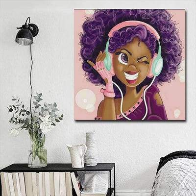 "BigProStore African American Wall Art Beautiful Black Girl African American Framed Art Afrocentric Decorating Ideas BPS93550 16"" x 16"" x 0.75"" Square Canvas"
