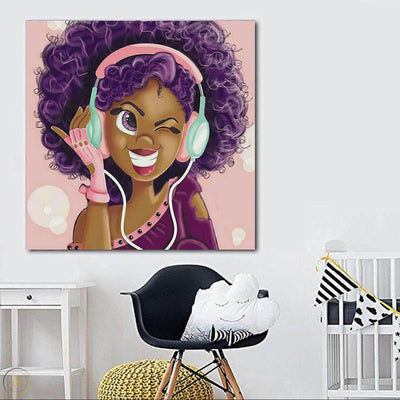 "BigProStore African American Wall Art Beautiful Black Girl African American Framed Art Afrocentric Decorating Ideas BPS93550 24"" x 24"" x 0.75"" Square Canvas"