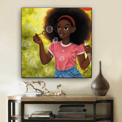 "BigProStore African American Wall Art Beautiful Black Girl African Canvas Wall Art Afrocentric Wall Decor BPS62974 12"" x 12"" x 0.75"" Square Canvas"