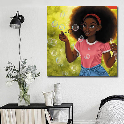 "BigProStore African American Wall Art Beautiful Black Girl African Canvas Wall Art Afrocentric Wall Decor BPS62974 16"" x 16"" x 0.75"" Square Canvas"