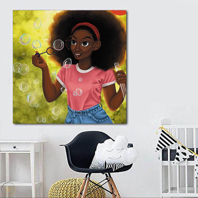 "BigProStore African American Wall Art Beautiful Black Girl African Canvas Wall Art Afrocentric Wall Decor BPS62974 24"" x 24"" x 0.75"" Square Canvas"