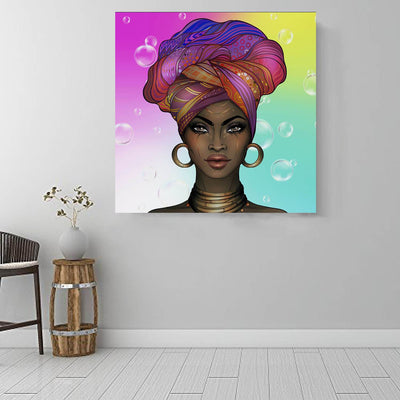 "BigProStore African American Wall Art Beautiful Melanin Girl African Canvas Wall Art Afrocentric Decorating Ideas BPS20586 16"" x 16"" x 0.75"" Square Canvas"