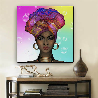 "BigProStore African American Wall Art Beautiful Melanin Girl African Canvas Wall Art Afrocentric Decorating Ideas BPS20586 24"" x 24"" x 0.75"" Square Canvas"