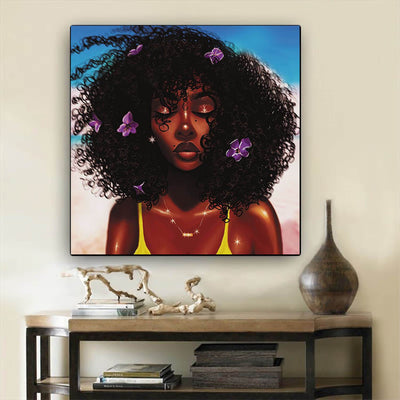 "BigProStore African American Wall Art Cute African American Girl African American Women Art Afrocentric Living Room Ideas BPS70615 12"" x 12"" x 0.75"" Square Canvas"