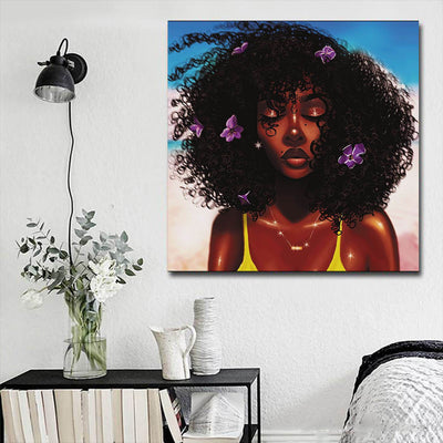 "BigProStore African American Wall Art Cute African American Girl African American Women Art Afrocentric Living Room Ideas BPS70615 16"" x 16"" x 0.75"" Square Canvas"