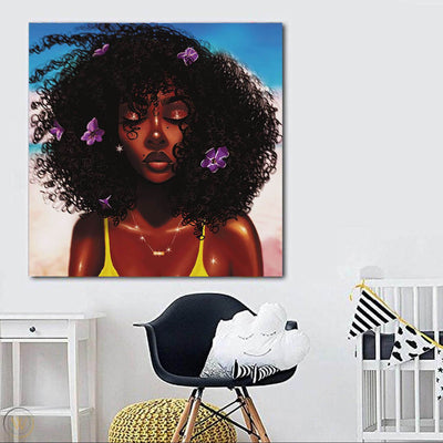 "BigProStore African American Wall Art Cute African American Girl African American Women Art Afrocentric Living Room Ideas BPS70615 24"" x 24"" x 0.75"" Square Canvas"